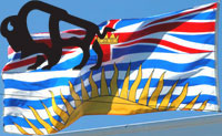 BC flag and MB bison