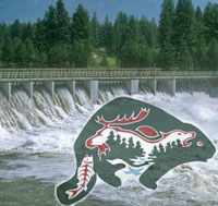 Tataskweyak logo and a dam