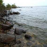 rocks in lake