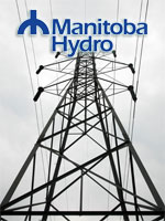 Manitoba Hydro logo and transmission lines