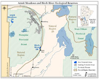 Armit Meadows & Birch River Ecological Reserves Map